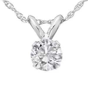 Jewelry - 1/3ct Round Solitaire White Gold Diamond Pendant